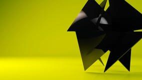 Transformación geométrica negra brillante de la partícula del objeto almacen de metraje de vídeo
