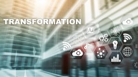 Transformaci?n del negocio Futuro y concepto de Internet y de la red de la innovaci?n Fondo abstracto del asunto T?cnicas mixtas fotos de archivo
