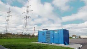 Transformador de la corriente eléctrica en la subestación de alto voltaje metrajes