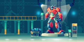 Transformador do robô da batalha no laboratório de ciência ilustração do vetor