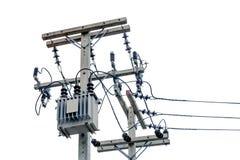 Transformador e linhas elétricas no fundo branco Foto de Stock