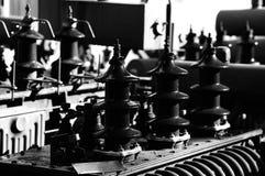 Transformateurs noirs de l'électricité utilisés dans le stockage Image libre de droits