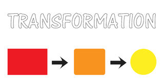 Transformation. Graph depicting change in form and color royalty free illustration