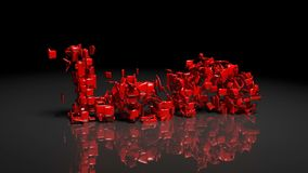 Transformation animation from word HATE to LOVE. In red words on black background stock footage