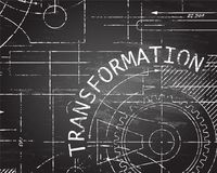 Transformation Blackboard Machine. Transformation text with gear wheels hand drawn on blackboard technical drawing background Royalty Free Stock Images