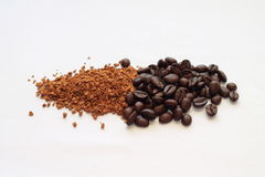 The transformation of coffee. Coffee beans and next instant coffee difference Stock Image