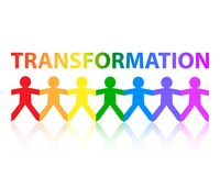 Transformation Paper People Rainbow. Transformation cut out paper people chain in rainbow colors vector illustration