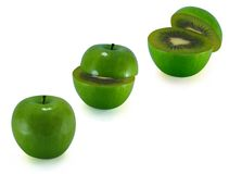 The transformation of green apples in kiwi Royalty Free Stock Photo
