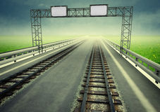 Transformation of motorway to ecological rail transport Royalty Free Stock Images