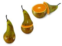 The transformation of pears in orange. Metamorphosis, the transformation of pears in orange, white background stock photos