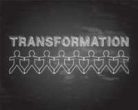 Transformation People Blackboard. Transformation text hand drawn with paper people on blackboard background Stock Image