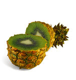 The transformation of pineapple in kiwi. On a white background Royalty Free Stock Photo