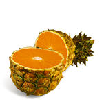 The transformation of pineapple in orange. On a white background Royalty Free Stock Image