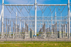 Transformation power station. Ultra modern high voltage transformation power station for electrical Industry with several transformers overview Stock Image
