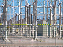 Transformation power station diagonal. Ultra modern high voltage transformation power station for electrical Industry with transformers Royalty Free Stock Photos