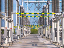 Transformation power station landscape closeup. Ultra modern high voltage transformation power station for electrical Industry with several transformers Stock Photos