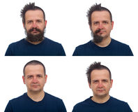 The transformation of a shaggy hair and beard man Royalty Free Stock Images