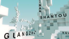Made in China words animated with cubes. Transformative 3d cubes with all kinds of different terms stock illustration