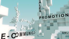 Marketing Communication words animated with cubes. Transformative 3d cubes with all kinds of different terms stock video footage