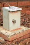 Transformatorkabinett, utomhus- elektrisk kontrollask royaltyfri bild