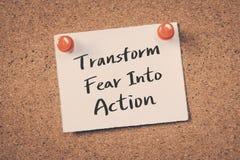 Transforme el miedo en la acción fotos de archivo libres de regalías