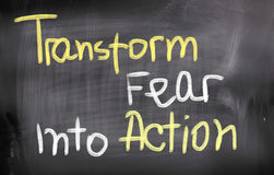 Transforme o medo no conceito da ação imagens de stock
