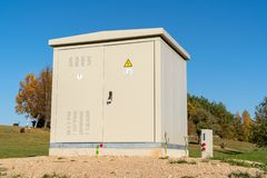 Transformer cabinet in the park royalty free stock photo