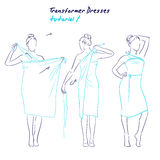 Transformer dresses women clothes and accessories, hand drawn instruction how to wear a universal dress Stock Photos