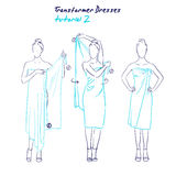 Transformer dresses women clothes and accessories, hand drawn instruction how to wear a universal dress Royalty Free Stock Images