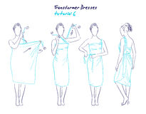 Transformer dresses women clothes and accessories, hand drawn instruction how to wear a universal dress Royalty Free Stock Photos