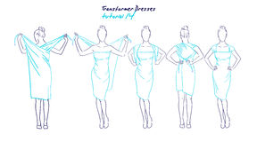 Transformer dresses women clothes and accessories, hand drawn instruction how to wear a universal dress Stock Image