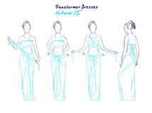 Transformer dresses women clothes and accessories, hand drawn instruction how to wear a universal dress Royalty Free Stock Image