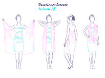 Transformer dresses women clothes and accessories, hand drawn instruction how to wear a universal dress Royalty Free Stock Photography