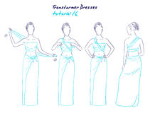 Transformer dresses women clothes and accessories, hand drawn instruction how to wear a universal dress Royalty Free Stock Photo