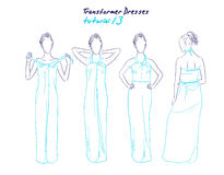 Transformer dresses women clothes and accessories, hand drawn instruction how to wear a universal dress Stock Photography