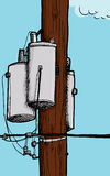Transformer on Electric Pole Stock Photo
