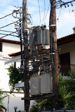 Transformer. Electric power transformer on a wooden post Royalty Free Stock Images