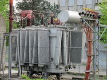 Transformer and electrical cables and switches Royalty Free Stock Image