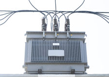 Transformer on Electricity post, high power station. High voltag Stock Photo