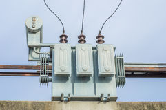 Transformer on Electricity post, high power station. High voltag Royalty Free Stock Image