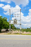 Transformer : The equipment used to raise or lower voltage Stock Image