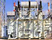 Transformer on high power station Royalty Free Stock Images