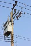 High Voltage Transformer. Transformer on high power station. High voltage Royalty Free Stock Photo