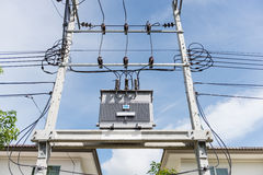 Transformer on high power station. High voltage Royalty Free Stock Images
