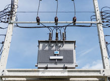 Transformer on high power station. High voltage Royalty Free Stock Photos