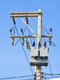 Transformer on high power station. Royalty Free Stock Images