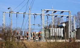 Transformer high voltage distribution stations Stock Photos