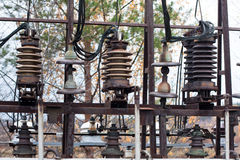 Transformer and high-voltage lines insulator Royalty Free Stock Photos