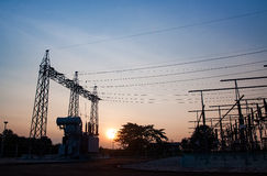 Transformer high-voltage substation danger disconnect Royalty Free Stock Photo