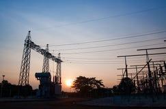 Transformer high-voltage substation danger disconnect. Amperage circuit transformer conversion danger, disconnect distribution electricity Royalty Free Stock Photo